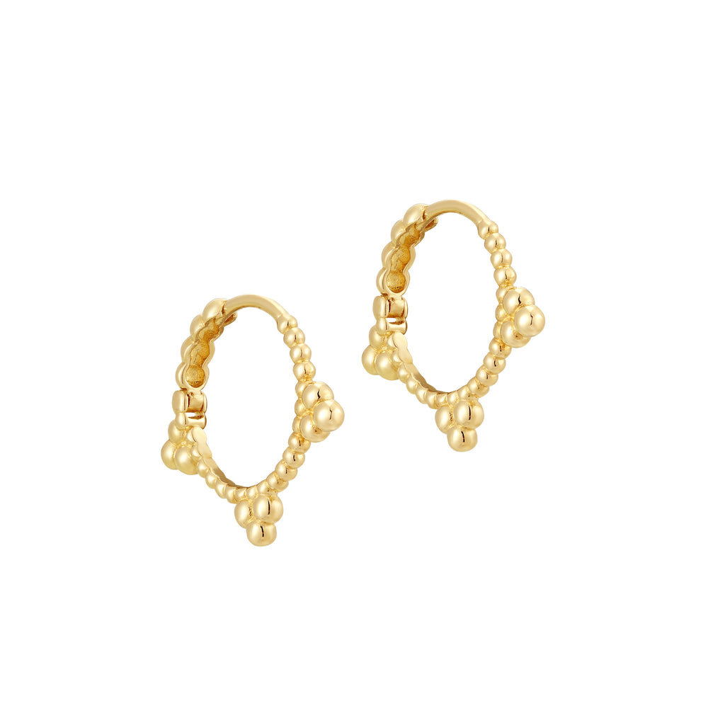 Dotted Triple Bead Hoops