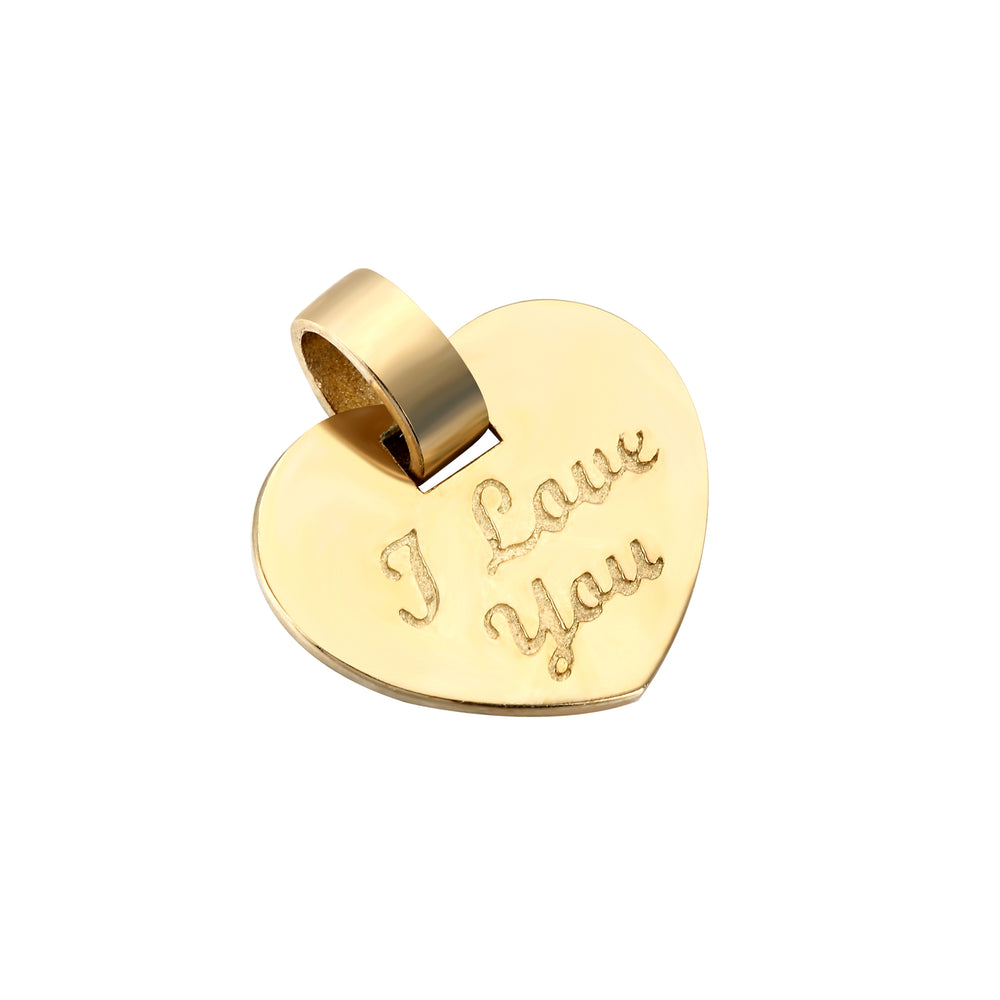 9ct Gold 'I love you' Heart Pendant