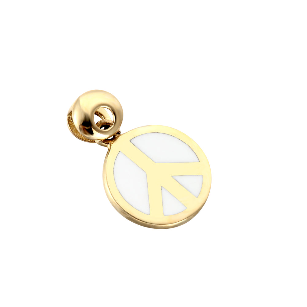 9ct Gold Enamel Peace Symbol