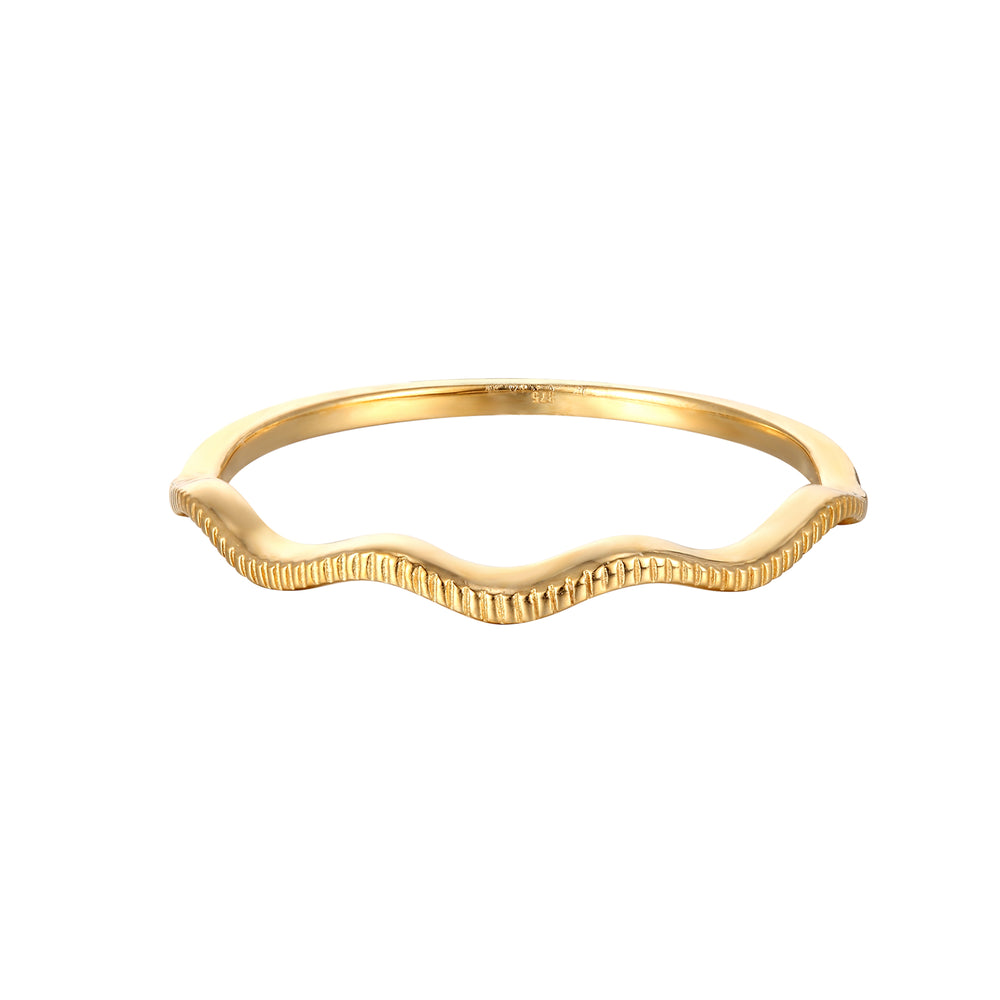 9ct Gold Curved Shape Engraved Ring