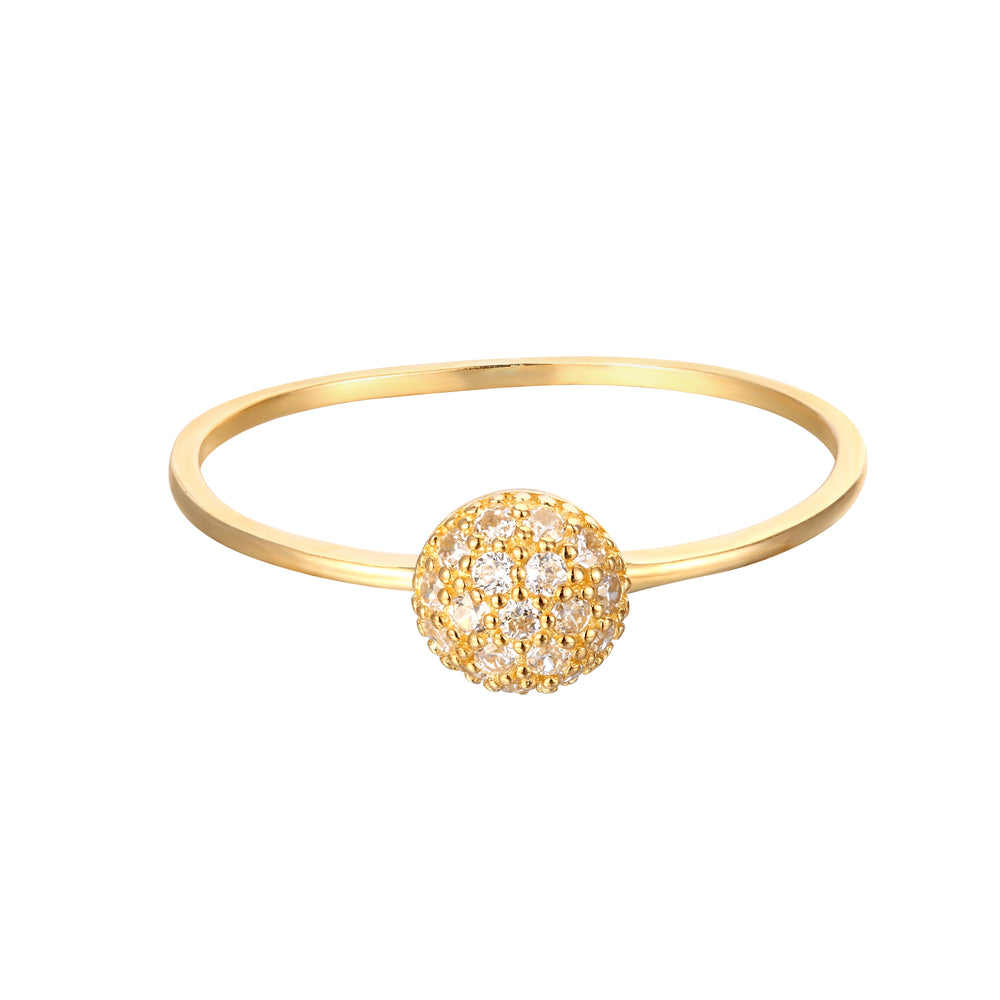 9ct Gold Pave Solitaire Ring