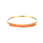9ct Gold Coral Half-Eternity Ring