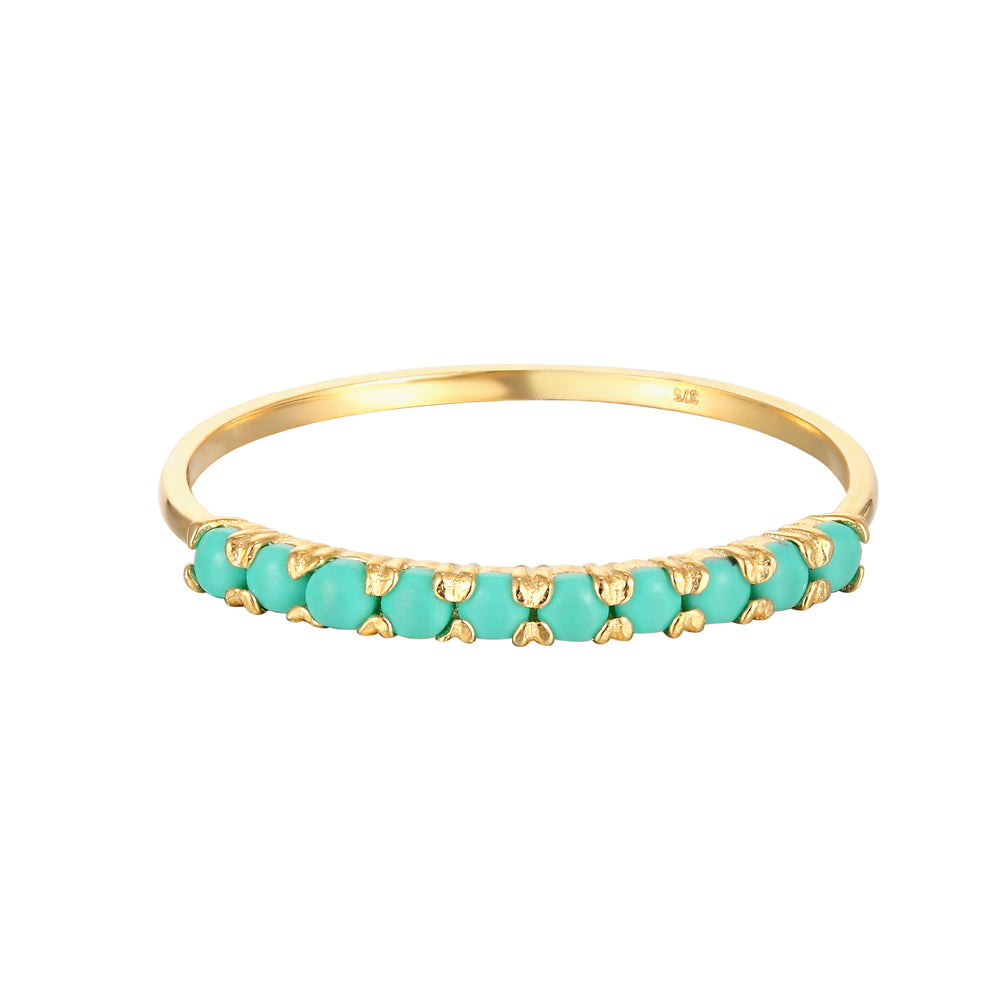 9ct Gold Green Turquoise Half-Eternity Ring