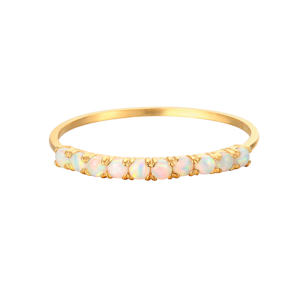 9ct Gold Opal Half-Eternity Ring