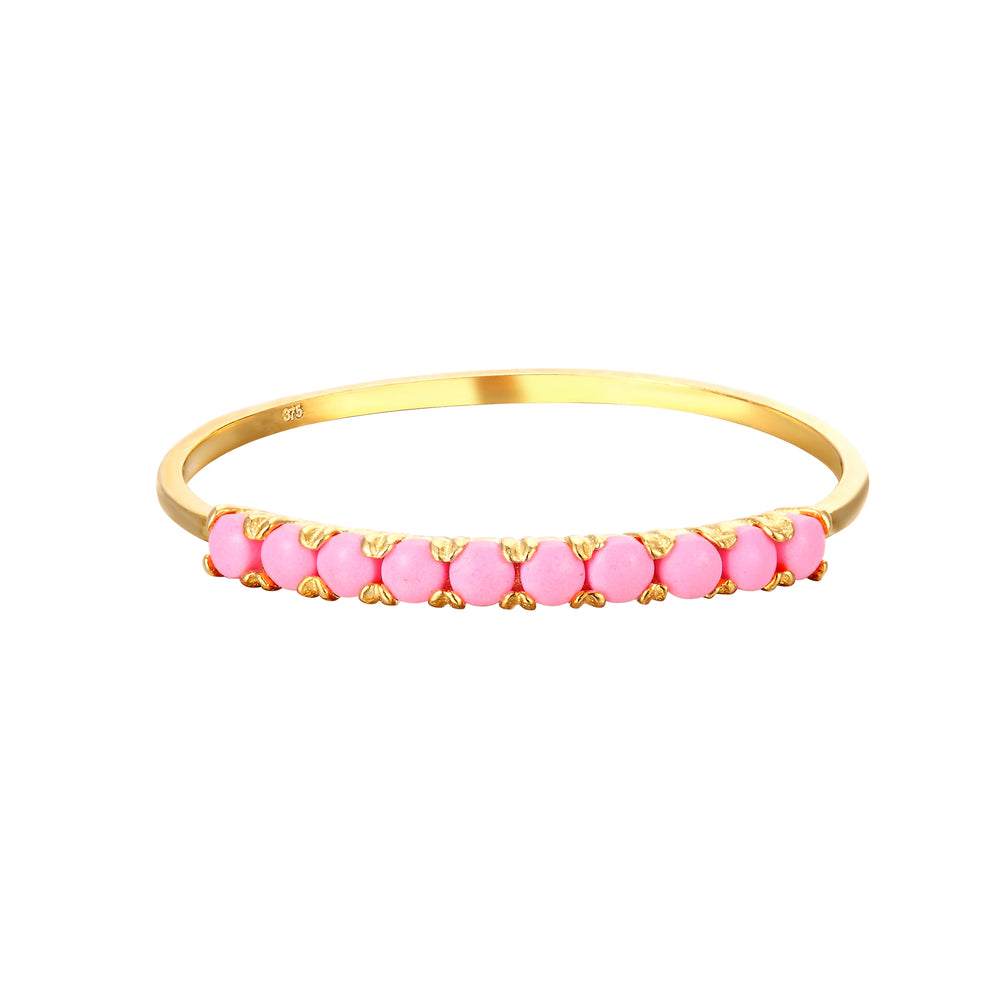 9ct Gold Pink Half-Eternity Ring