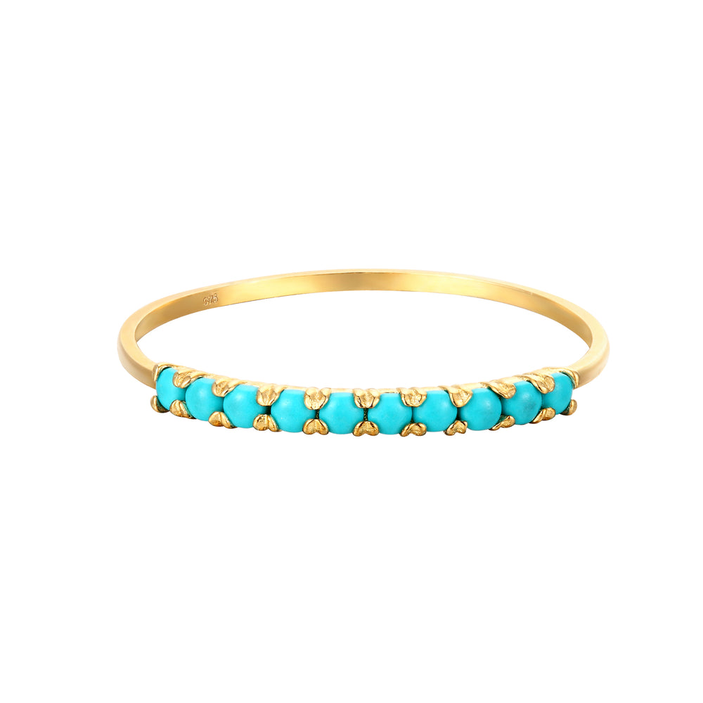 9ct Gold Turquoise Half-Eternity Ring