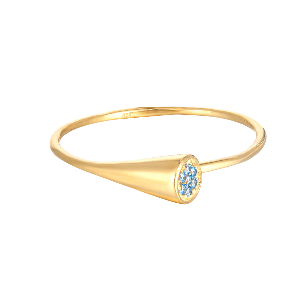 9ct Gold Topaz CZ Wraparound Ring