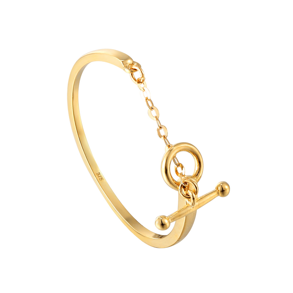 9ct Yellow Gold T-bar Chain Ring