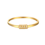 9ct Gold CZ Bar Ring