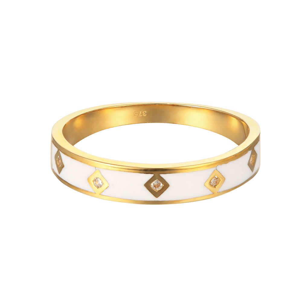 9ct Gold White Enamel Ring