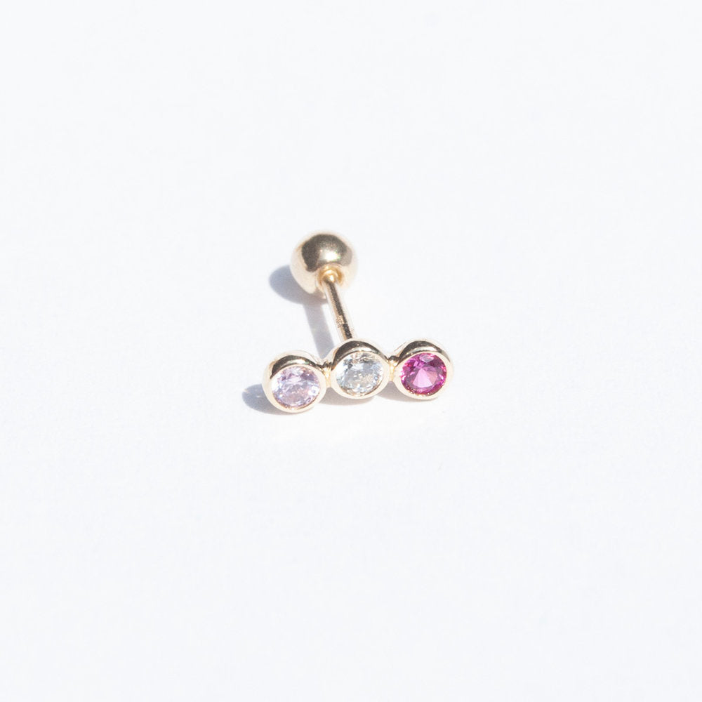 9ct Gold Cubic Zirconia Pink Trio Stud - seol-gold