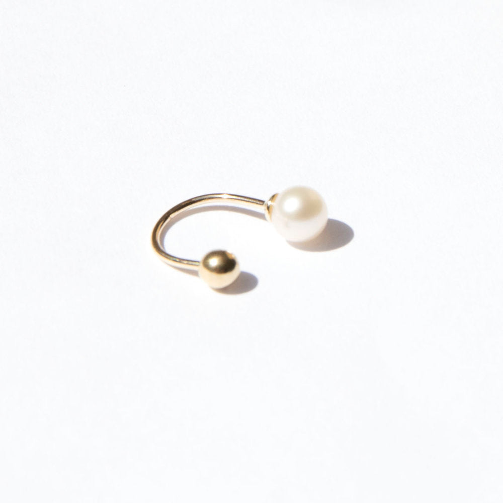 9ct Gold Asymmetric Pearl Earring - seol-gold