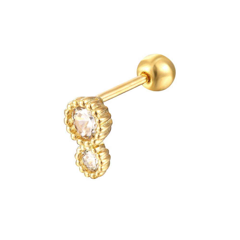 9ct Gold Scallop CZ Stud