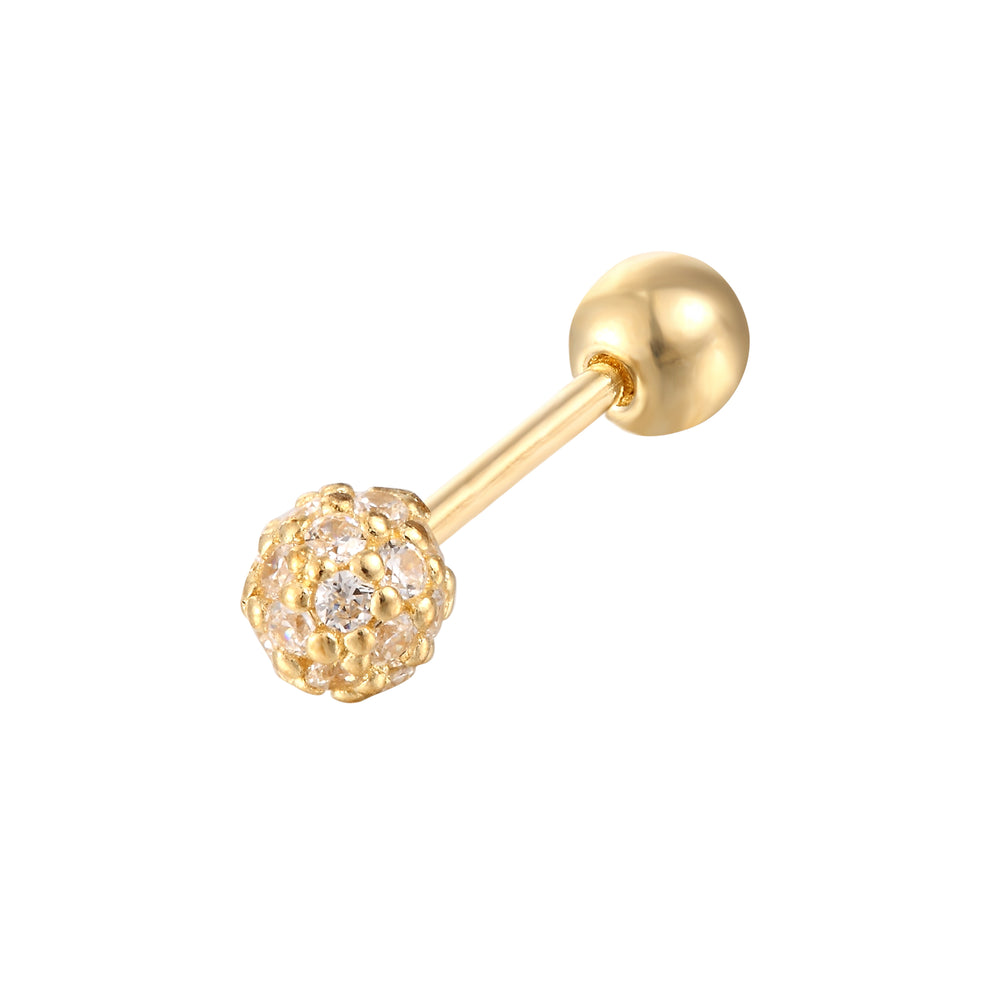 9ct Gold Pave Sphere Stud