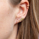 9ct Gold CZ 'Love' Stud Earrings - seol-gold