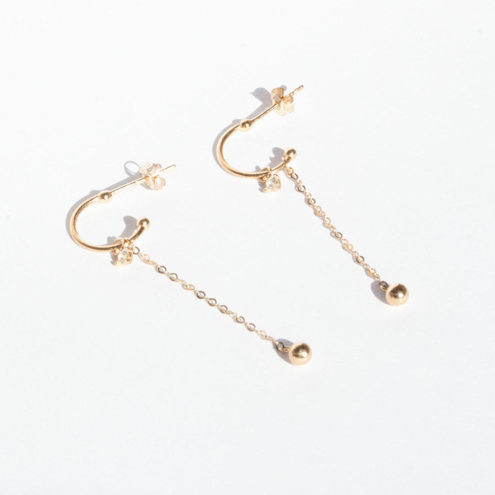 9ct Gold CZ Chain Half Hoop Studs
