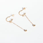 9ct Gold CZ Chain Half Hoop Studs - seol-gold