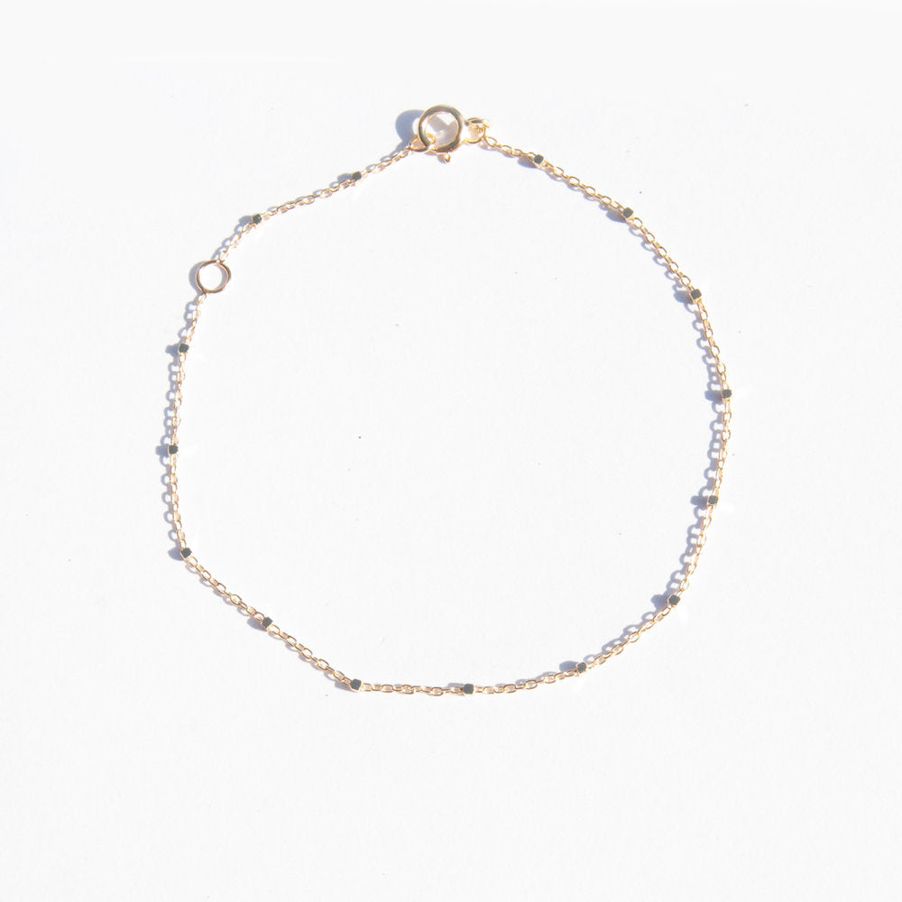 9ct Gold Square Bead Saturno Chain Bracelet - seol-gold