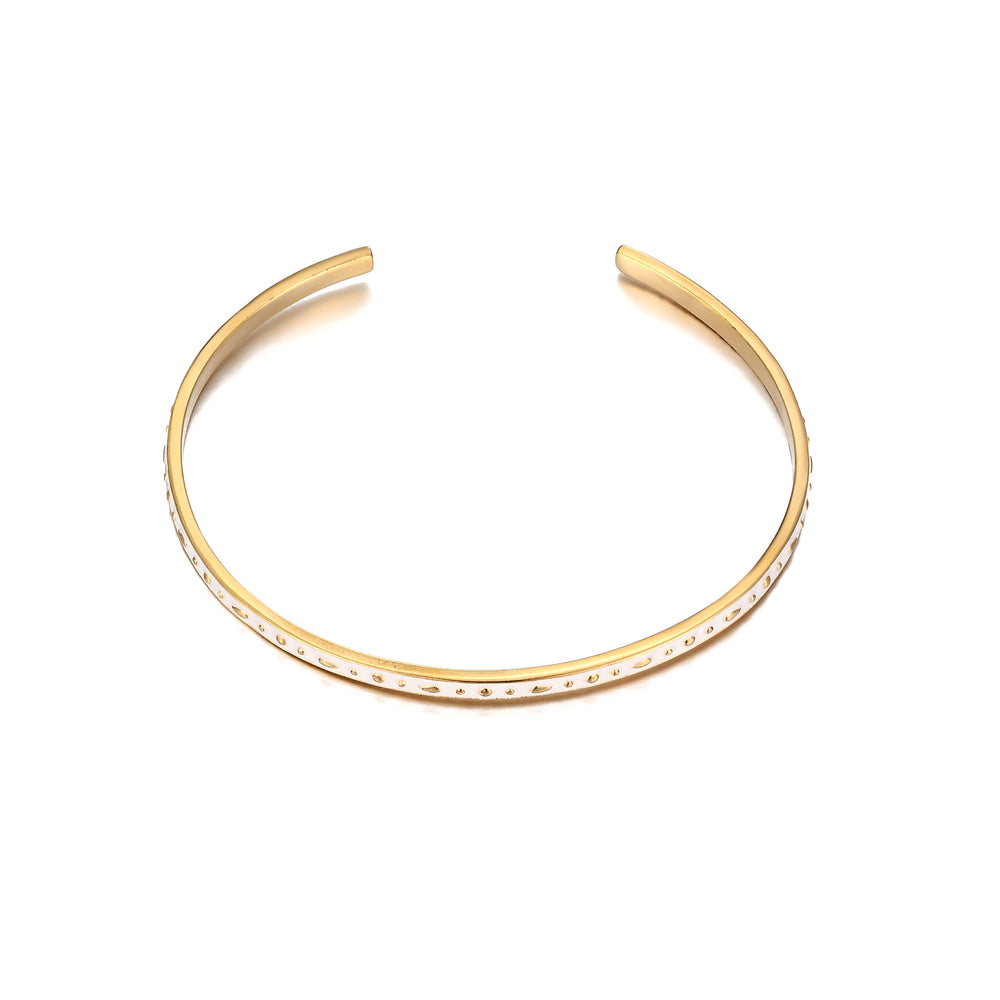 White Enamel Cuff Bangle