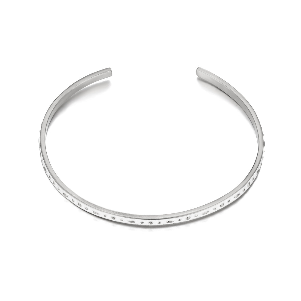 silver Enamel Cuff Bangle - seol-gold