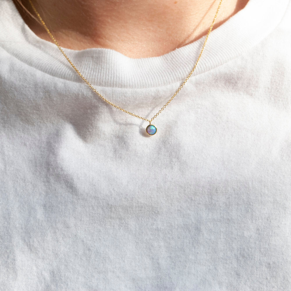 gold opal necklace - seol-gold