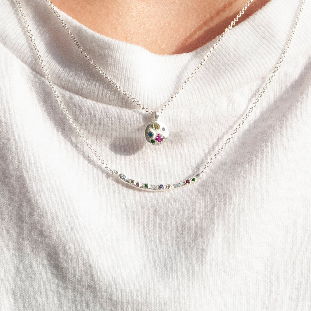 Rainbow CZ Studded Bar Necklace - seol-gold