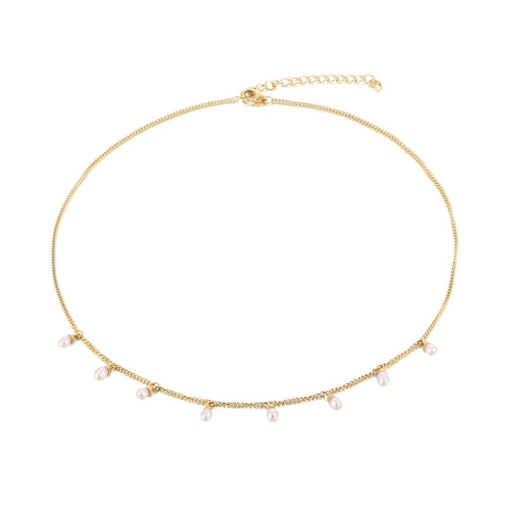 pearl charm necklace -seol gold