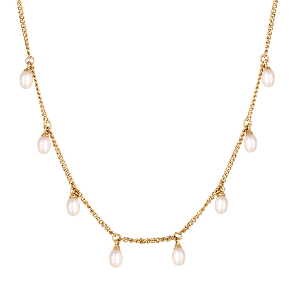pearl charm necklace seol gold