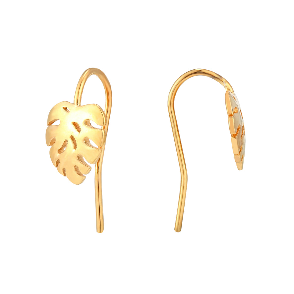 gold cheese plant earrings - seol gold