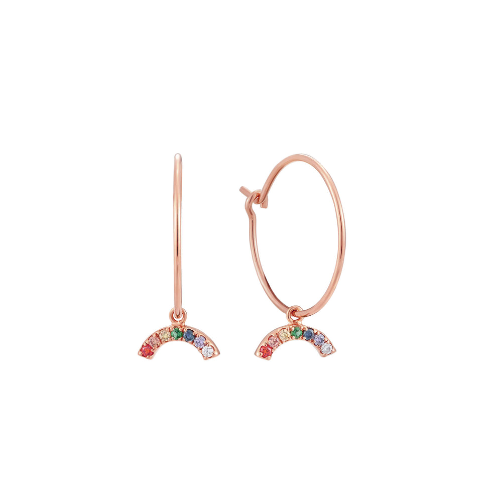 Rainbow CZ Charm Hoop Earrings