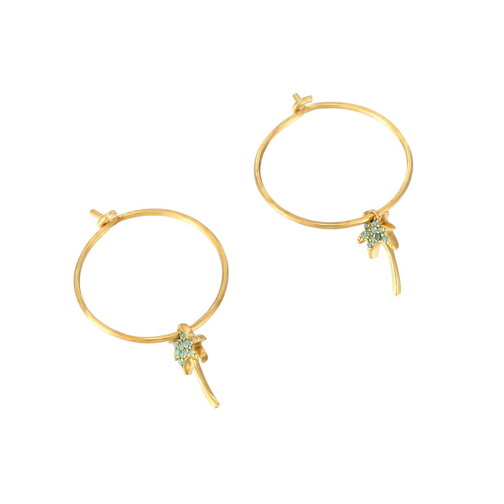 Palm Tree gold Hoops - seol-gold