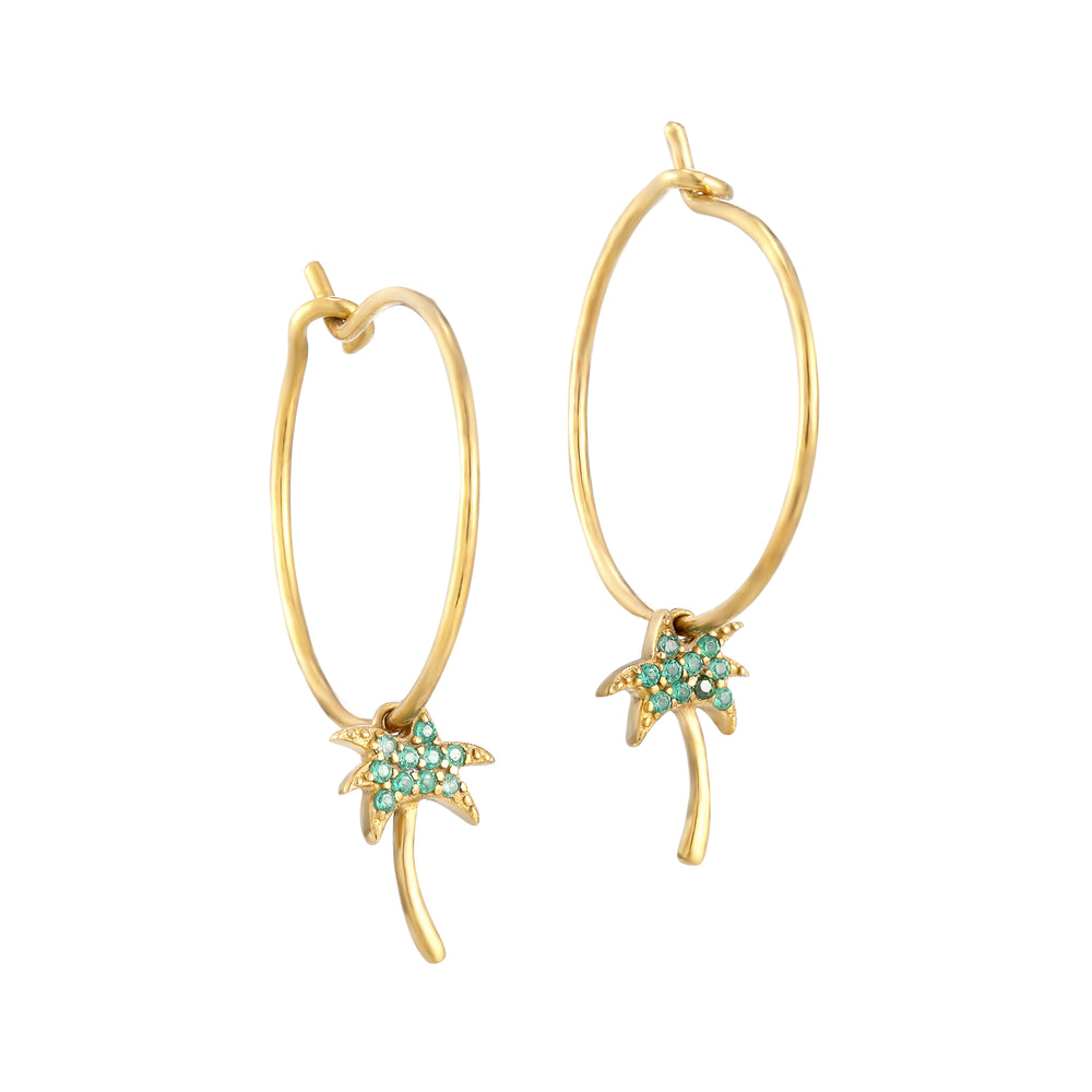 Emerald palm tree Hoops - seol-gold