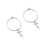 Cloud and Lightning Bolt Charm Hoop Earrings