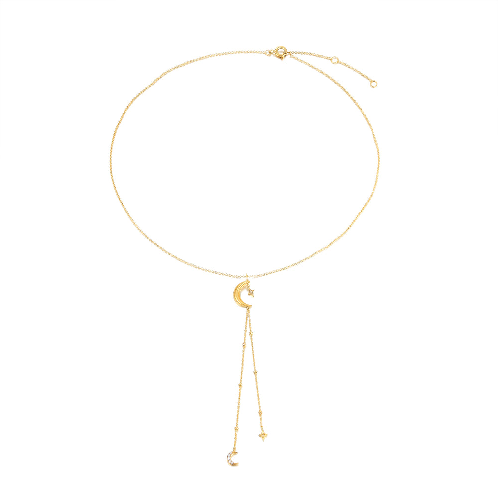 gold moon - charm necklace - seolgold