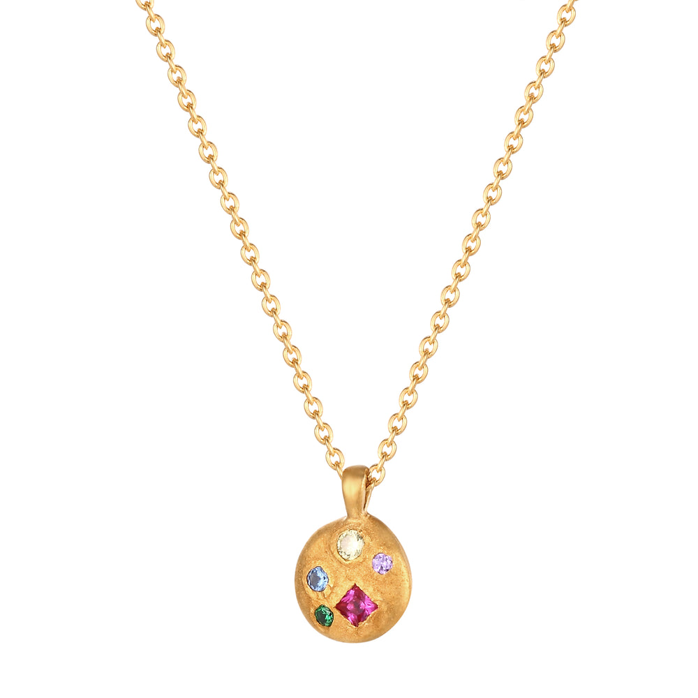 Rainbow CZ gold Necklace - seol-gold