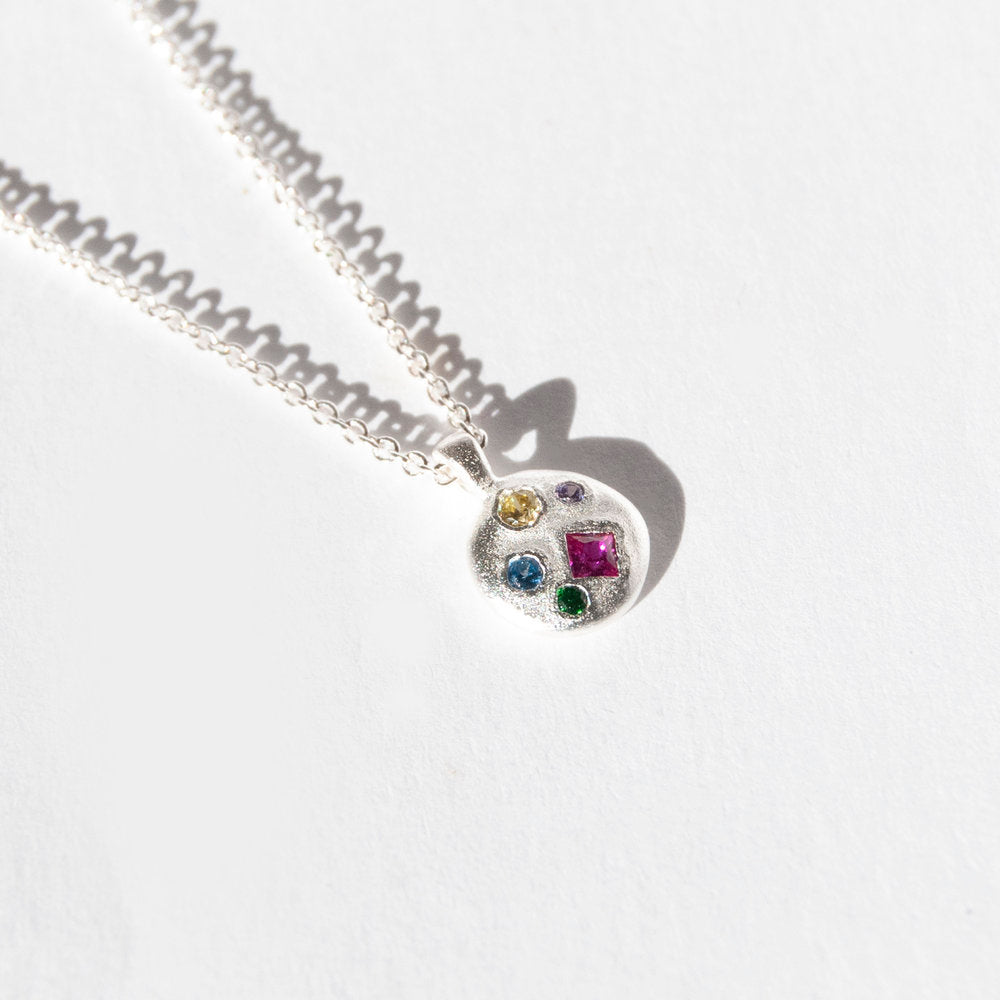 Rainbow CZ Studded Disc Necklace - seol-gold