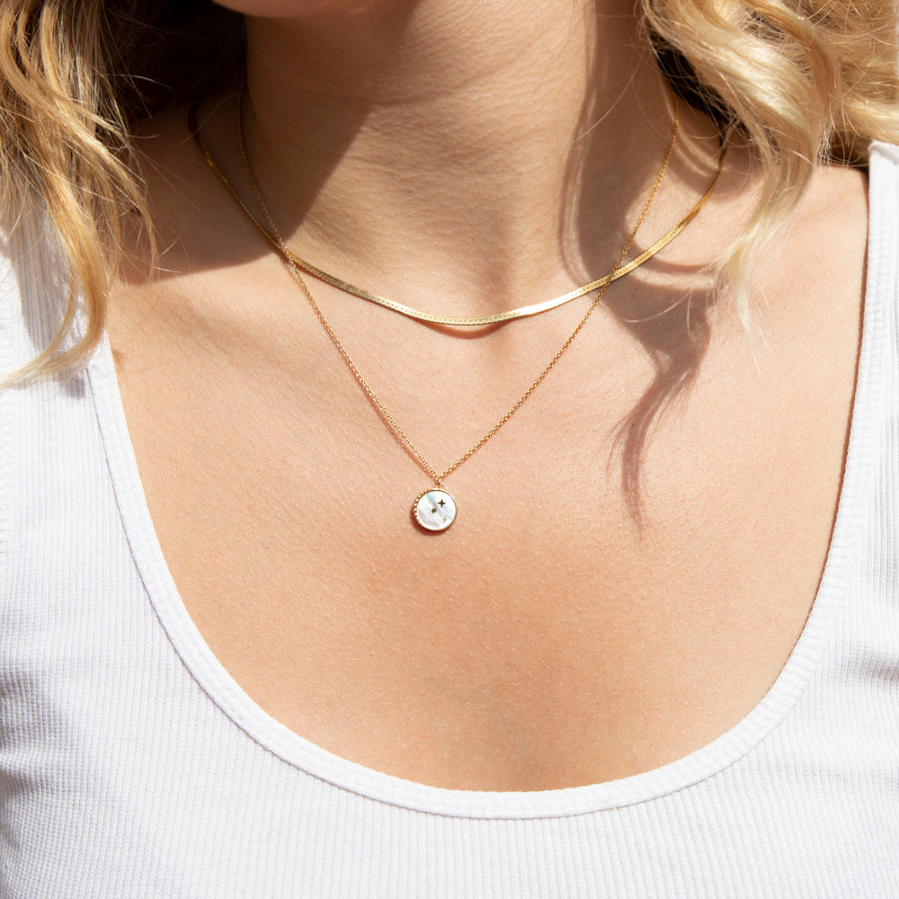 Mother of Pearl Star Necklace - seol-gold