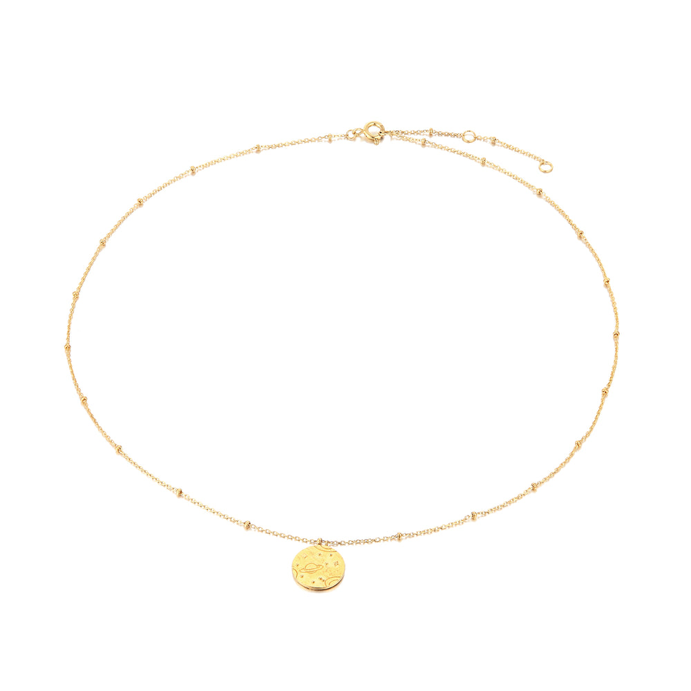 Universe Medallion - seol-gold - gold medallion necklace