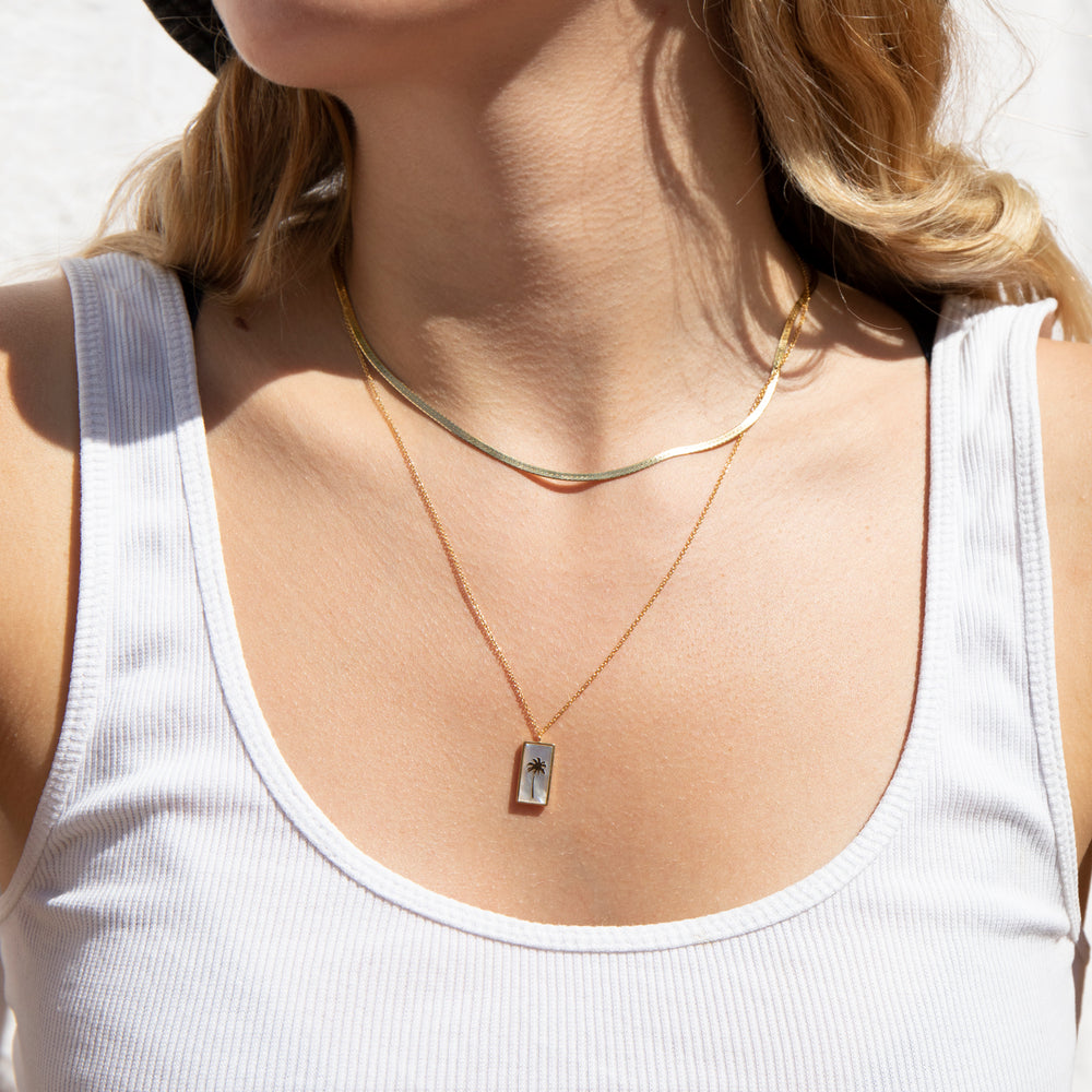 Mother of Pearl Palm Tree Necklace - seol-gold
