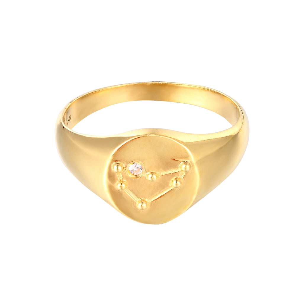 Constellation CZ Signet Ring - seol-gold