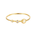 Opal CZ Triple Bezel Ring - seol-gold