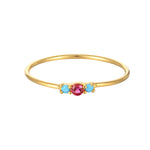 Turquoise and Ruby CZ Ring