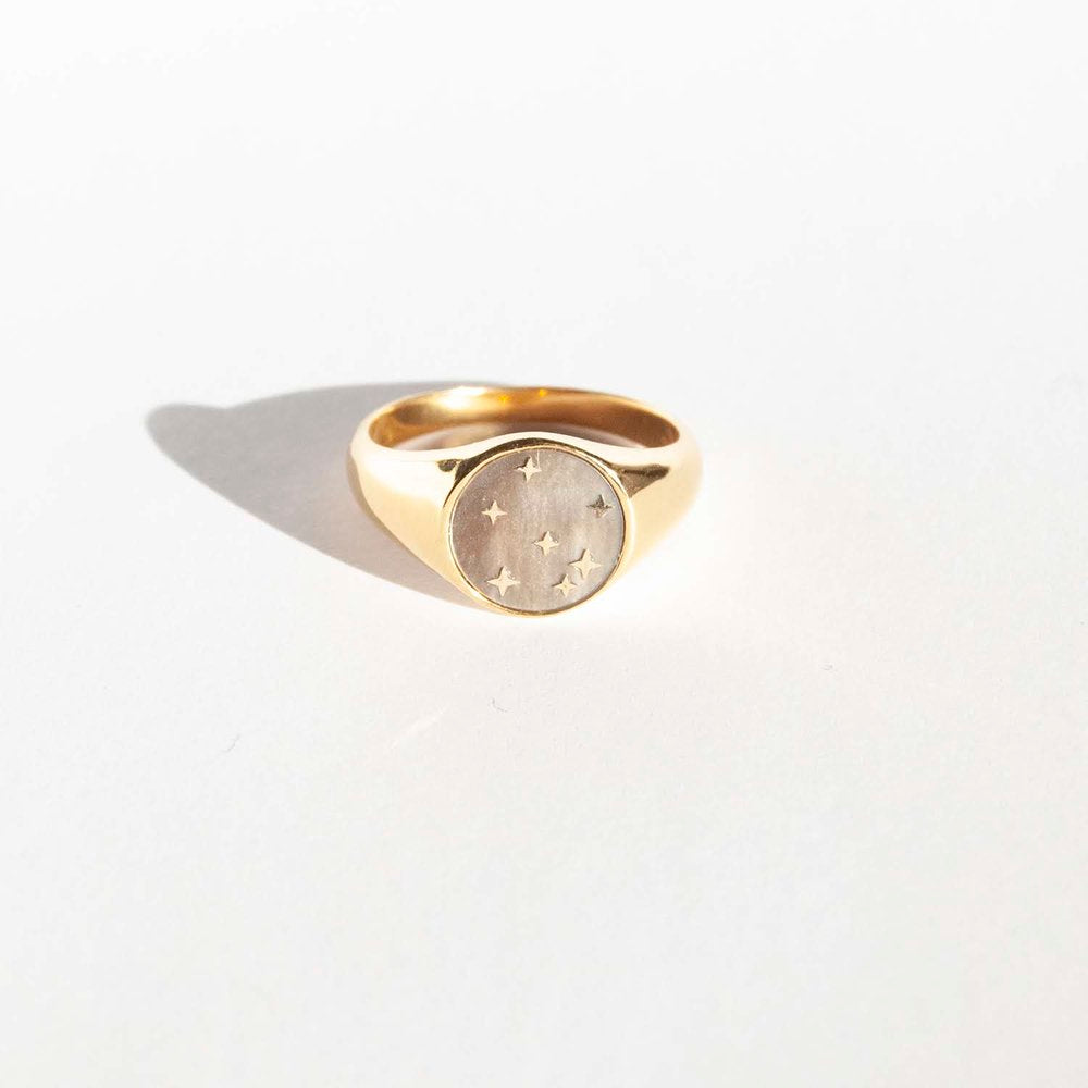 Mother of Pearl Signet Ring