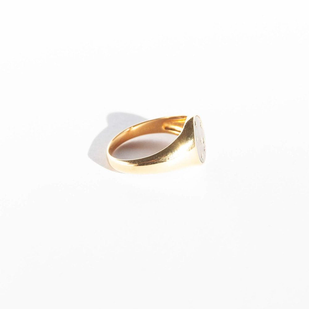 Mother of Pearl Signet Ring - seol-gold