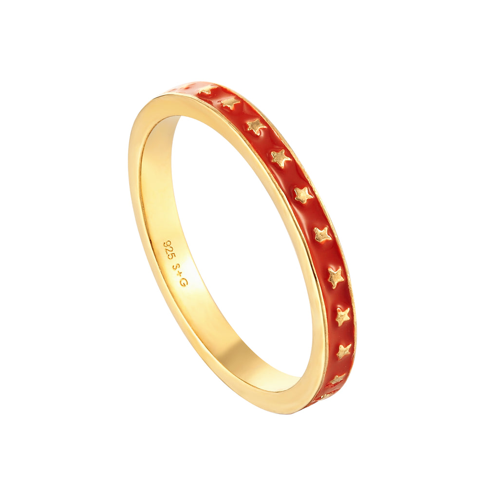 Red Enamel Star Band Ring