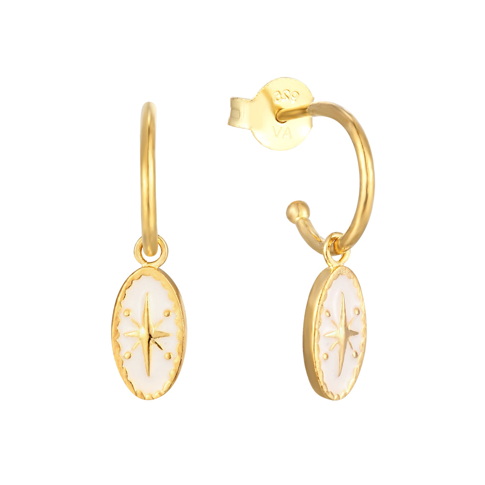 Enamel Charm Hoop Earrings