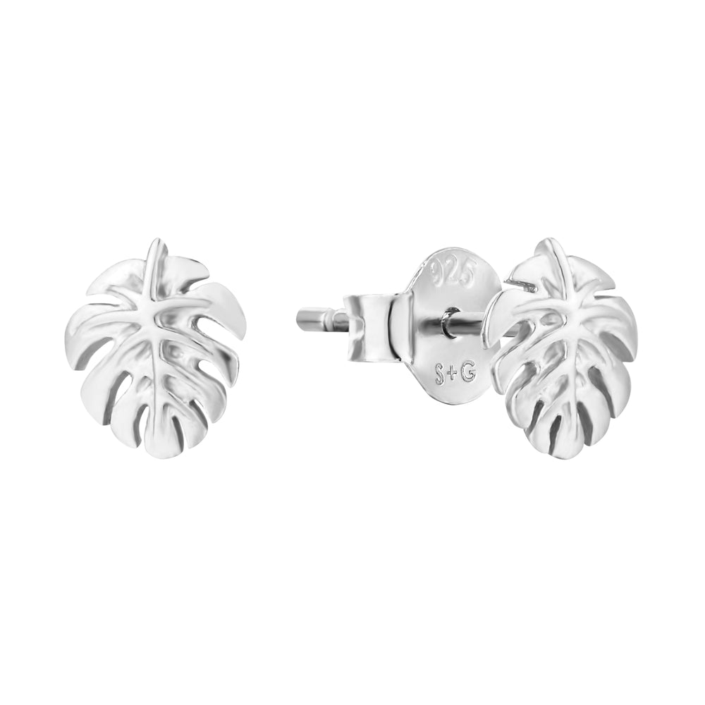 silver - cheese plant studs - seol gold