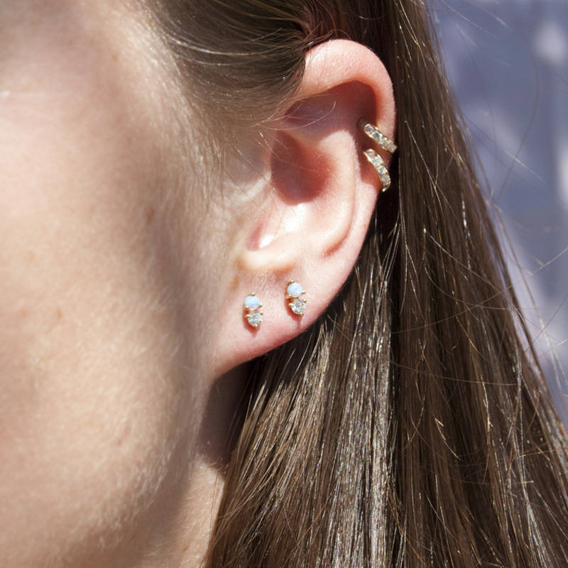 Opal and CZ Studs - seol-gold