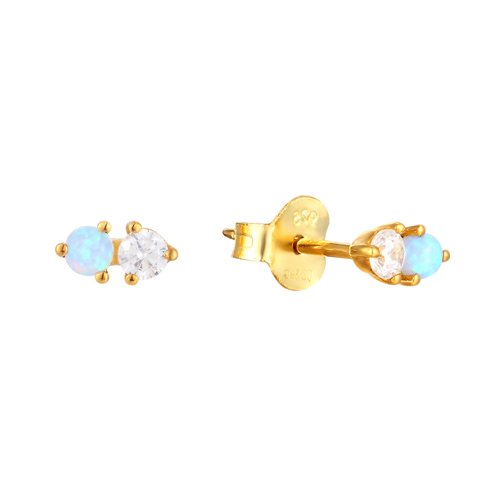 Opal and CZ Studs