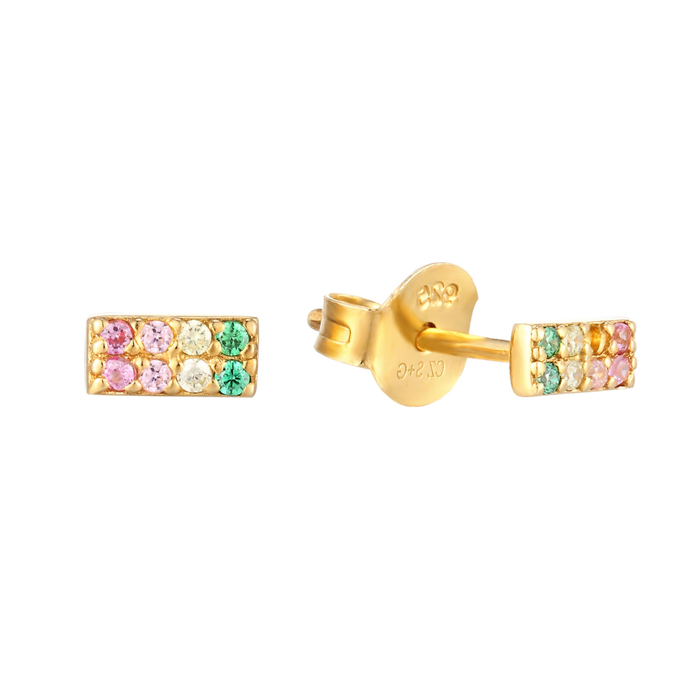 Rainbow Ombre CZ Stud Earrings